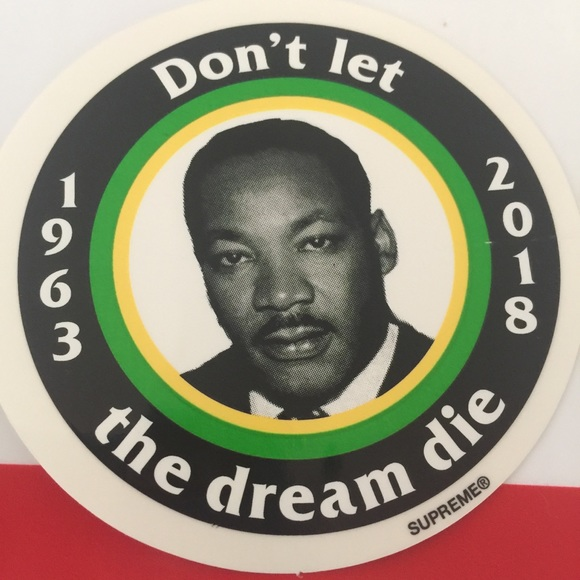 059fe0030397 New Supreme MLK Martin Luther King Sticker Dream. M_5b297c6f619745753dc86035